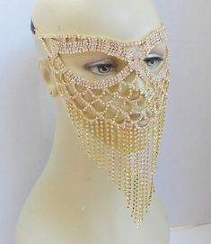 Gold Rhinestone Masquerade Face Mask Sparkling Face Mask Mardi Gras mask Wedding mask New Years Eve Halloween Masks, Halloween 2020, Diy Mask, Diy Face Mask, Fair Outfits, Scrub Hat Patterns, Face Jewellery, Cute Black Boys, Face Jewels