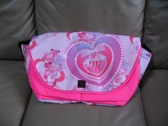 Monogram Jeweled Valentine Hearts Messenger Bag from Zazzle.