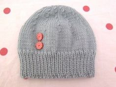 Hand knitted light teal baby 'Button' hat