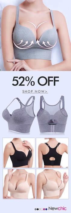 Sexy Shockproof Seamfree Breathable Wireless Gather Yoga Sports Bras #style #fashion