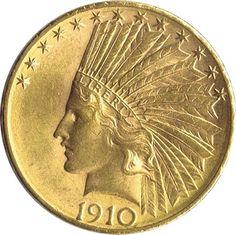 Moneda de oro 10 dolares Estados Unidos 1910 Indio
