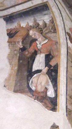 1508 Temptation of Saint Anthony, Painting Fresco San Giovanni Battista church, Salbertrand, Italy Renaissance Jewelry, Renaissance Fashion, Medieval Costume, Medieval Art, Renaissance Portraits, Renaissance Hairstyles, Italian Renaissance Dress, 15th Century Clothing, Temptation Of St Anthony