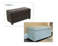 Reupholstered #ottoman Before and After. I'm thinking of doing this in our #masterbedroom