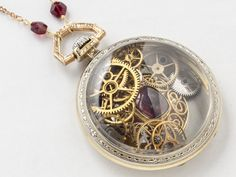 Steampunk Necklace pocket watch movement case 14k white rose gold filled gears wheels vermeil red garnet locket pendant jewelry