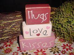Hugs LOVE Kisses Valentine Chocolate Kisses Sweet Valentine Wood Sign Blocks Holiday Seasonal Primitive Country Rustic Home Decor Gift