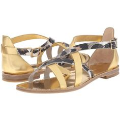 Diane von Furstenberg Cannes (Gold Metallic/Snow Cheetah) Women's... ($206) ❤ liked on Polyvore featuring shoes, sandals, gold, low heel ankle strap sandals, metallic gold shoes, low heel sandals, ankle wrap sandals and ankle strap sandals