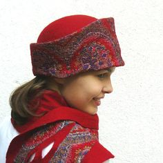 Nuno felted hat and scarf set wool and silk Red by MajorLaura, 5.00
