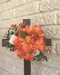 This item is unavailable Grave Flowers, Cemetery Flowers, Funeral Flowers, Diy Flowers, Easter Flower Arrangements, Flower Vases, Floral Arrangements, Painted Wooden Crosses, Mothers Day Decor