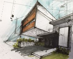 Image 1 of 28 from gallery of R+P House / ADI Arquitectura y Diseño Interior. Photograph by Oscar Hernandez Watercolor Architecture, Architecture Panel, Residential Architecture, Architecture Design, Bungalow Haus Design, Modern House Design, House Sketch, House Drawing, Exterior Design