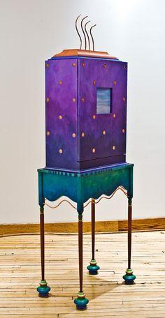 cabinet by Meg Romero studio Art Furniture, Purple Furniture, Whimsical Painted Furniture, Painted Chairs, Hand Painted Furniture, Funky Furniture, Colorful Furniture, Unique Furniture, Shabby Chic Furniture