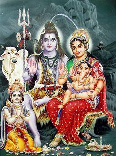 Shiva, Parvati, Ganesha and Kartik - (Poster with Glitter) - Hindu Posters (Reprint on Paper - Unframed) Shiva Parvati Images, Shiva Hindu, Lakshmi Images, Shiva Art, Hindu Deities, Krishna Krishna, Krishna Images, Hanuman, Lord Shiva Hd Wallpaper