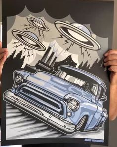 """max_grundy Gonna be releasing a new print """"UFO TASK FORCE"""" soon. On July we will have these up for sale with a very special giveaway for the first 40 people that get a print. We will only have 40 freebies so please be ready to order on the forth🇺🇸. Ford Pickup Trucks, Chevy Trucks, Lowrider, Cool Car Drawings, Hot Rod Pickup, Car Tattoos, Drawing Machine, Custom Muscle Cars, Nordic Tattoo"""