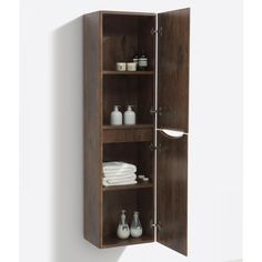Baltimore Chestnut Wall Mounted Storage Cabinet A storage unit with a clean, elegantly simple and modern look that adds a fantastic touch of sleek style. This robust unit offers plentiful storage and is sure to impress. Tall Bathroom Storage Cabinet, Bathroom Vanity Units, Wall Mounted Vanity, Bathroom Furniture, Small Bathroom, Bathroom Ideas, Washbasin Design, Basin Vanity Unit, Shower Fittings