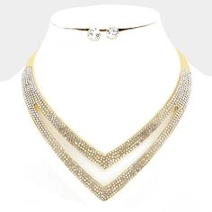 Crystal Double V Gold Metal Necklace