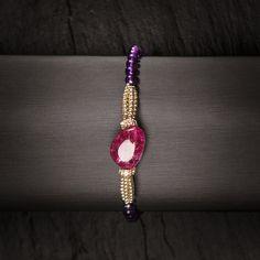 Le Papillon Armband. Silber vergoldet & Double, Rondelle Silber vergoldet mit Simili. Mit Amethysten und pink Quarz.   http://eclat-joaillerie.com/produkt/le-papillon-armband