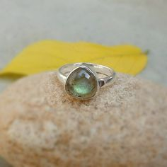 925 Sterling Silver Labradorite Gemstone Ring by FineSilverStudio