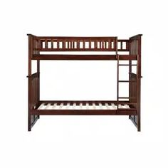 Harper & Bright Designs Espresso Twin Bunk Bed Over with Trundle Bed and End Ladder-SK000067AAP - The Home Depot Wood Bunk Beds, Bunk Bed With Trundle, Twin Bunk Beds, Brown Kids Bedroom Furniture, Staircase Bunk Bed, Atlantic Furniture, Bed With Drawers, Under Bed Storage, Headboard And Footboard