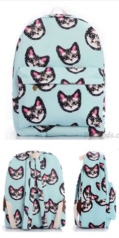 Light Blue Sweet Lovely Kitten Printing Canvas School Bag Satchel Backpack for big sale! Lace Backpack, Retro Backpack, Striped Backpack, Satchel Backpack, Floral Backpack, Fashion Backpack, Backpacks For Teens School, Backpack For Teens, School Bags