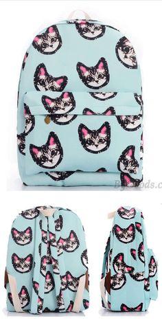 Light Blue Sweet Lovely Kitten Printing Canvas School Bag Satchel Backpack for big sale! Lace Backpack, Retro Backpack, Striped Backpack, Satchel Backpack, Floral Backpack, Fashion Backpack, Backpacks For Teens School, Backpack For Teens, School Bags