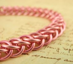 Rose Wheat Pink Awareness Bracelet Kit by UnkamenSupplies #chainmaille
