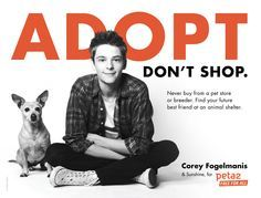 Cruelty free clothing. Every purchase helps abandoned & abused animals: http://www.selflessrebel.com  Find out why Corey Fogelmanis thinks animal adoption is important.