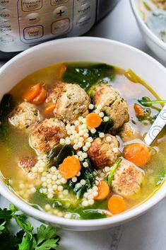 Instant Pot Italian Wedding Soup, made with turkey meatballs, acini de pepe pasta, and spinach is an easy recipe for a homemade hearty soup. Best Instant Pot Recipe, Instant Pot Dinner Recipes, Instant Pot Pressure Cooker, Pressure Cooker Recipes, Pressure Cooking, Slow Cooker, Turkey Meatball Soup, Turkey Meatballs, Sausage Soup
