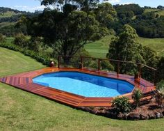 Above+Ground+Pool+Landscaping | around pool lights and hardwood deck around above ground pool