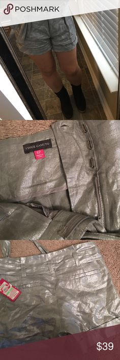 Silver metallic Vince Camuto shorts😍 So so cute!!! Perfect for holiday season with tights and boots.  Pix 2 and 3 are representing it's color most closely.  Brand new with extra buttons😍.  It'll work for size 6☺️Purchased at Nordstrom Rack.  Please enjoy:)💕 Vince Camuto Shorts
