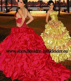 Neckholder Abendkleid - Ballkleid in Rot mit Schleppe