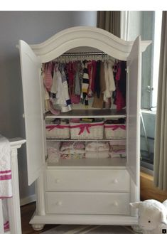 No closet in the nursery, so this Baby Cache armoire holds all of the baby's… No closet in the nursery, so this Baby Cache armoire holds all of the baby's cute clothes. No closet in the nursery, so this Baby Cache armoire holds all of the baby's… Nursery Armoire, Baby Armoire, Armoire Cabinet, Baby Dresser, Baby Clothes Storage, Baby Storage, Storage Ideas, Nursery Storage, Shoe Storage