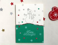 5 Snowman Christmas Cards  Handmade Holiday by ilovecreatingcards