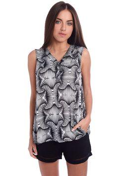 Black collarless printed blouse