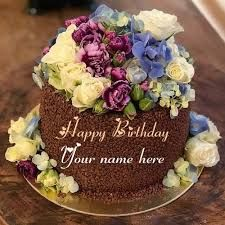 Flower Birthday Cake With Name Edit - Beauty Fzl99 Chocolate Cake With Name, Happy Birthday Chocolate Cake, Heart Birthday Cake, Birthday Cake With Flowers, Birthday Chocolates, Flower Birthday, Cake Name, Cake Images, Purple Roses