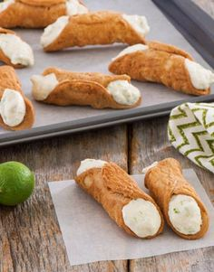 Key Lime Cannoli-Cannoli is an elegant, baked puff pasty that originally hails from Sicily. Our key lime cannoli features homemade baked cannoli shells filled with a light, crisp key lime cream filling. Lightly sweet and crunchy outside filled with a creamy sweet tart inside. These would be great to serve at brunch or for dessert anytime of the year.