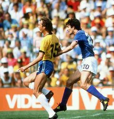 Italy 3 Brazil 2 in 1982 at Sarria Stadium, Barcelona. A mistake leads to Paolo Rossi making it 2-1 to Italy after 25 minutes in Round 2, Group C at the World Cup Finals.