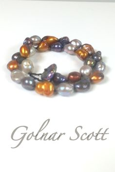"Golnar Scott Jewelry Sterling Silver Bracelet one short strand of large multi tone pearls 15"" L"