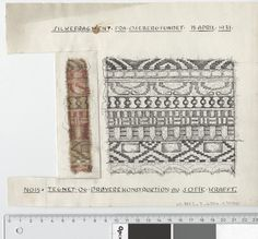 Oseberg Findings from folder 'Oseberg, textiles - silk': Silk Fabric 1, fragment 15. The character of Sofie Krafft: a / ink drawing ('trying construction') and b / watercolor ('character') and cut out. Measure A / B: 23.6 cm H, 19.3 cm, b / B: 3.9 cm, H: 12 cm.