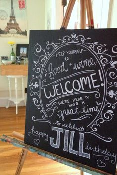 French Bistro Chalkboard Welcome Sign Birthday Party