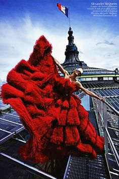 Aymeline Valade in Alexander McQueen, photographed by Mario Sorrenti for Vogue Paris August 2012