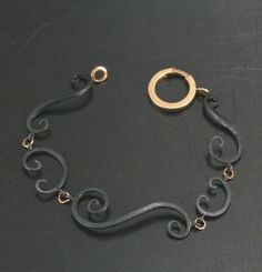 Ironwerx Favorite Scroll Bracelet with hand forged Oxidized Black Silver Swirls and 14K Gold Accents