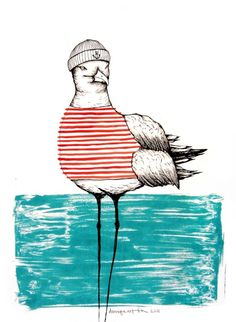 seagull with stripes / #giclée prints by daniela garreton