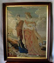 Large Antique Petit Point Needlework Tapestry