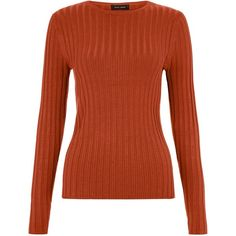 Rust Long Sleeve Wide Ribbed Top ($23) ❤ liked on Polyvore featuring tops, sweaters, brick, long sleeve tops, faux leather top, long sleeve sweaters, slim fit sweater and red long sleeve top
