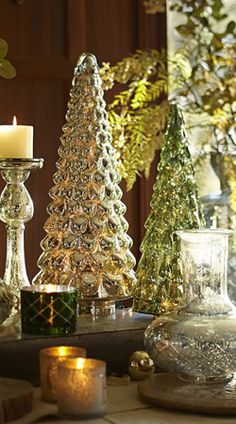 Silver and Green Mercury Glass Trees!!! Bebe'!!! So Glittering!!!