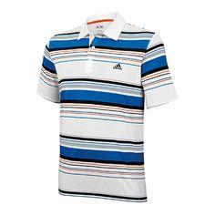 Men's adizero Bold Stripe Polo, White / Prime Blue