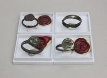 Lot 4 Roman rings / 4 Roman bronze ring