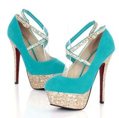 Turquoise Strappy High Heel