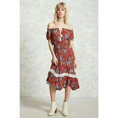 Boho Prairie Farm Country Off Shoulder Midi Dress