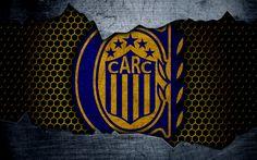 壁紙をダウンロードする ロザリオの中央, 4k, Superliga, ロゴ, グランジ, アルゼンチン, サッカー, サッカークラブ, 金属の質感, 美術, ロザリオの中央FC