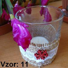Sklenený svietnik Jarko - Sviečka - S čajovou sviečkou (plus 0,10€), Vzor - Vzor 11